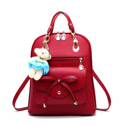 Women's Backpack Adorable Bowknot Bear Pendant Casual Durable School Bag - WINE RED