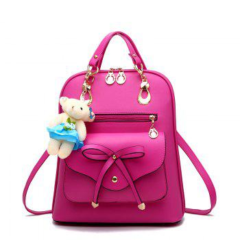 Women's Backpack Adorable Bowknot Bear Pendant Casual Durable School Bag - ROSE RED ROSE RED