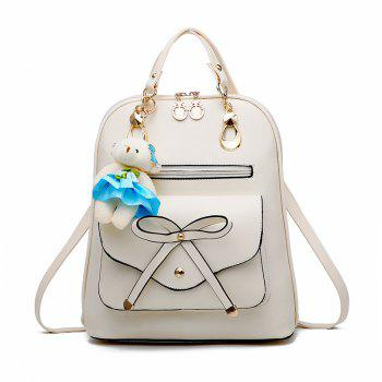 Women's Backpack Adorable Bowknot Bear Pendant Casual Durable School Bag - WHITE WHITE