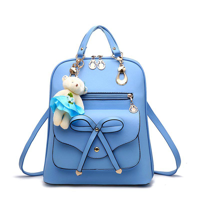 Women's Backpack Adorable Bowknot Bear Pendant Casual Durable School Bag - LIGHT BLUE