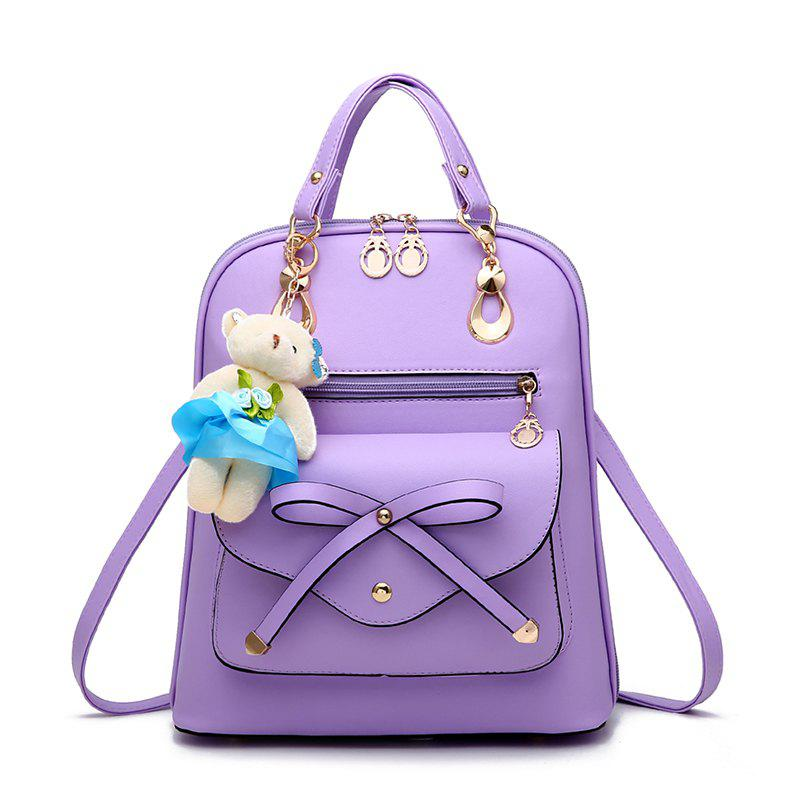 Women's Backpack Adorable Bowknot Bear Pendant Casual Durable School Bag - PURPLE