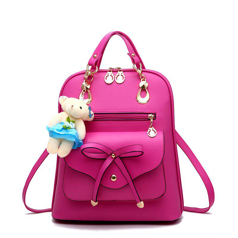 Women's Backpack Adorable Bowknot Bear Pendant Casual Durable School Bag - ROSE RED