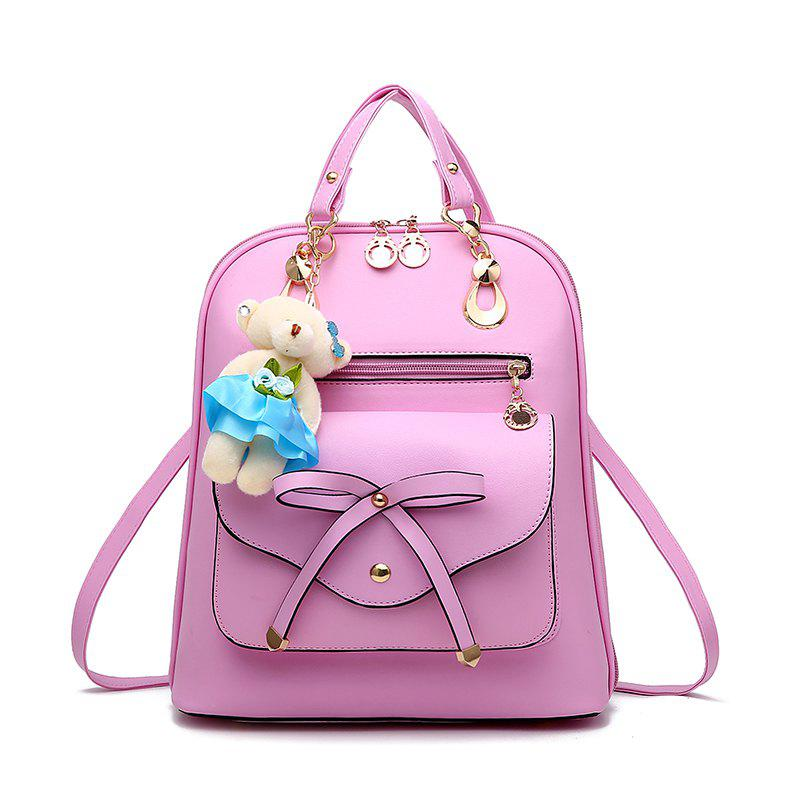 Women's Backpack Adorable Bowknot Bear Pendant Casual Durable School Bag - PINK