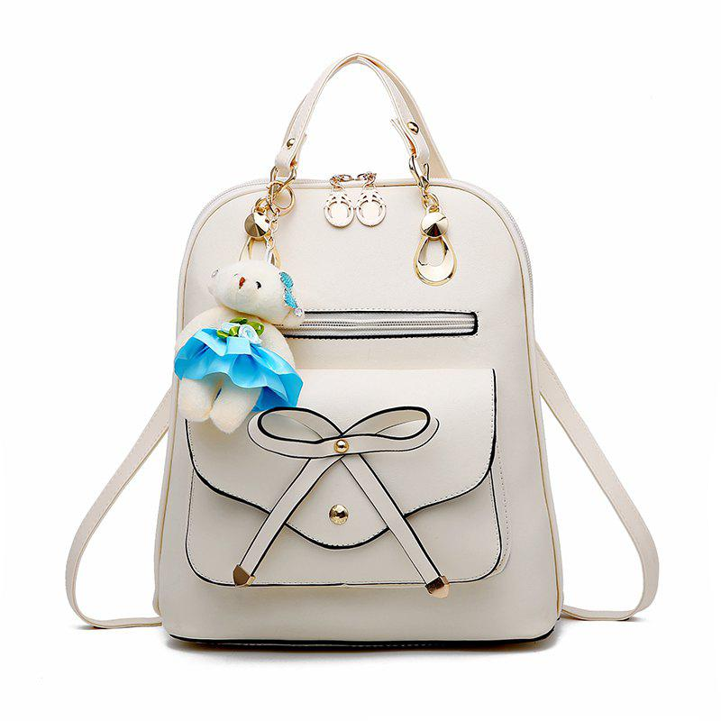 Women's Backpack Adorable Bowknot Bear Pendant Casual Durable School Bag - WHITE