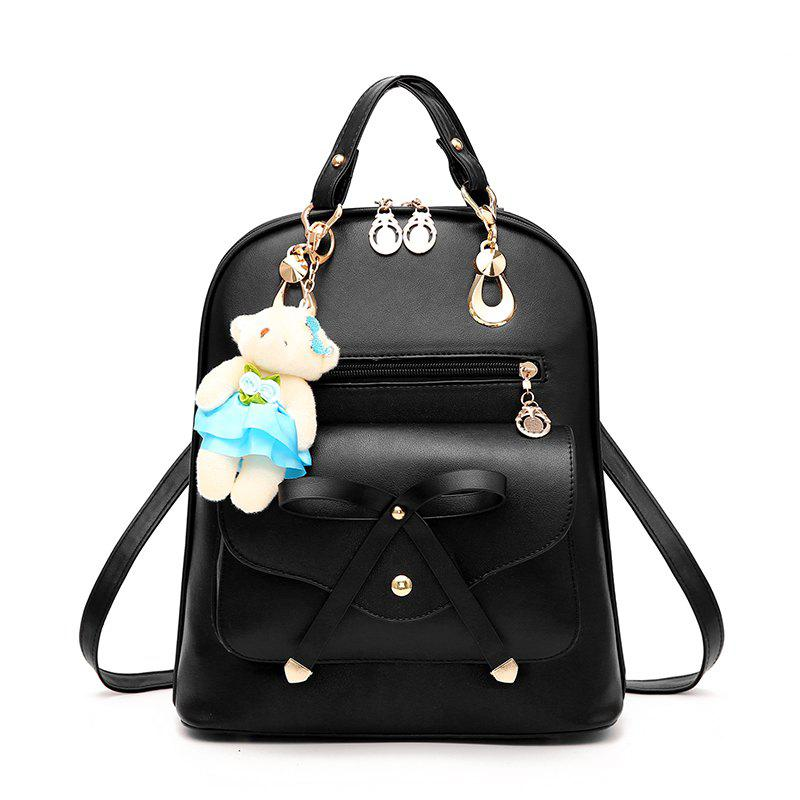 Women's Backpack Adorable Bowknot Bear Pendant Casual Durable School Bag - BLACK