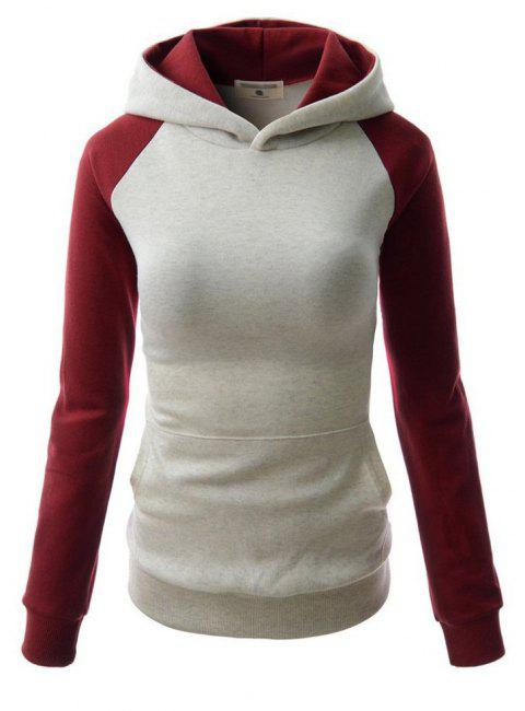 Fashion Hit Color Pocket Hoodie - GRAY/RED M