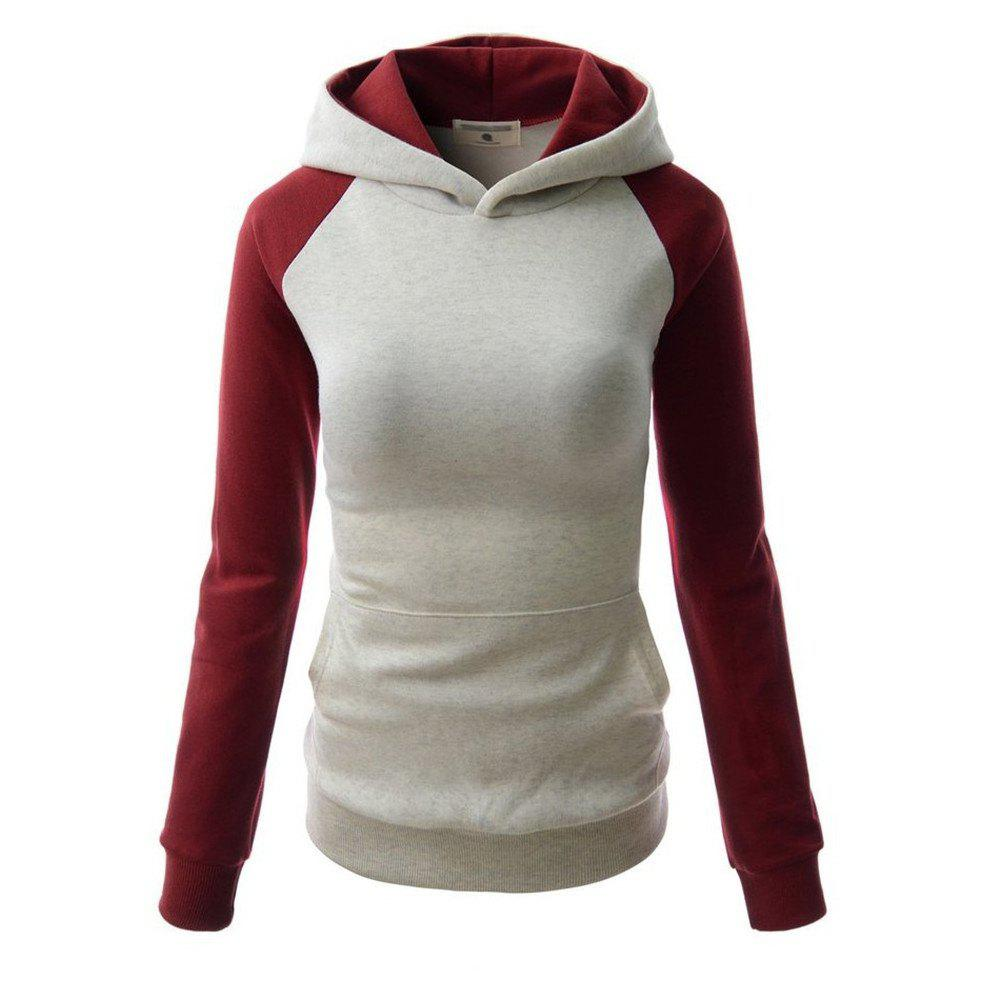 Fashion Hit Color Pocket Hoodie - GRAY/RED XL