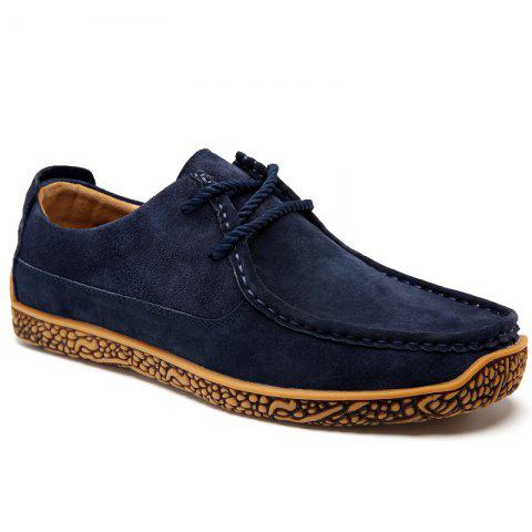 Soft Medium Top Thickened Retro Patent Leather Shoes - DEEP BLUE 41