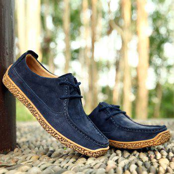 Soft Medium Top Thickened Retro Patent Leather Shoes - DEEP BLUE 40