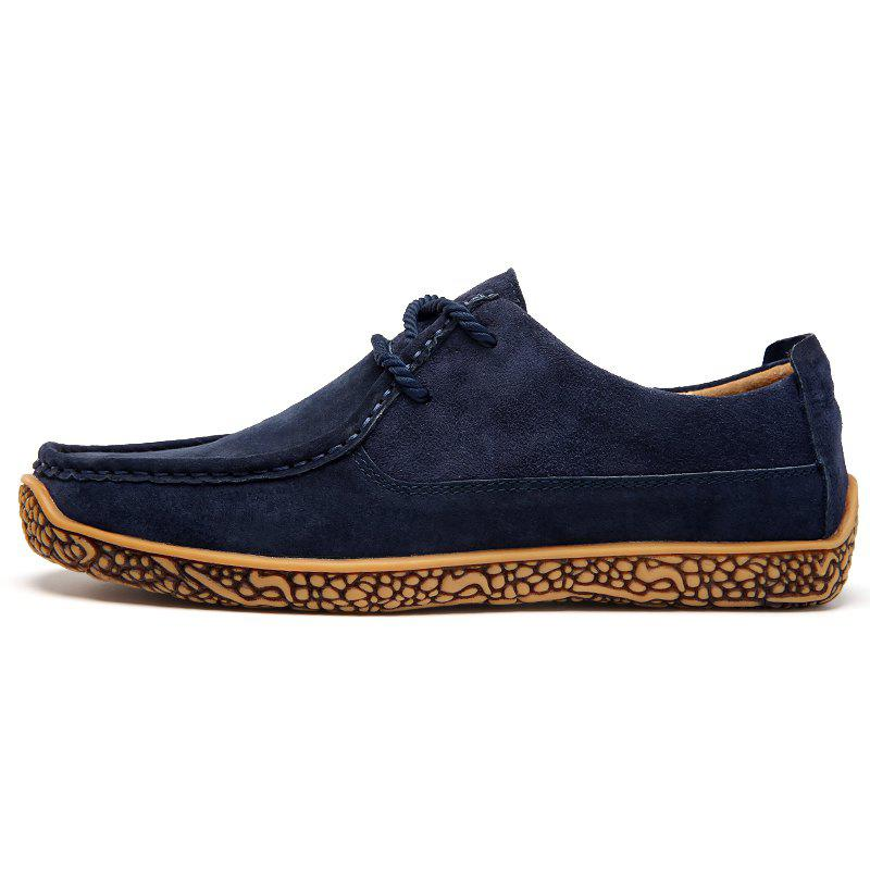 Soft Medium Top Thickened Retro Patent Leather Shoes - DEEP BLUE 39