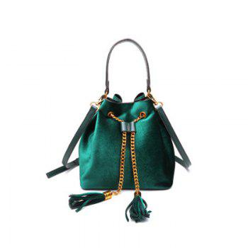 Simple Personality Single Shoulder Slanted with Tassel Bag - GREEN GREEN
