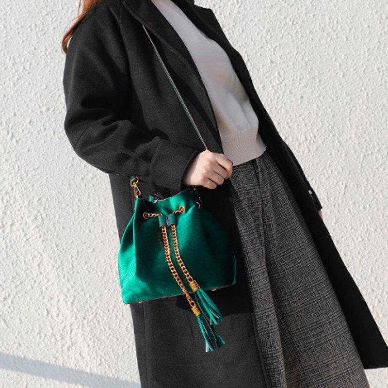 Simple Personality Single Shoulder Slanted with Tassel Bag - GREEN
