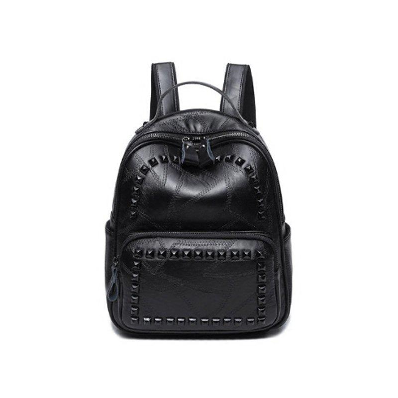 Simple Fashion Personality Double Shoulder Bag - BLACK