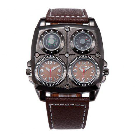 Double Core Compass Thermometer for Men's Quartz Watch - BROWN