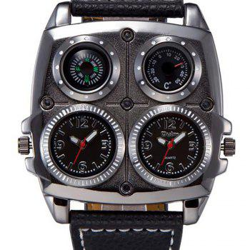 Double Core Compass Thermometer for Men's Quartz Watch - BLACK