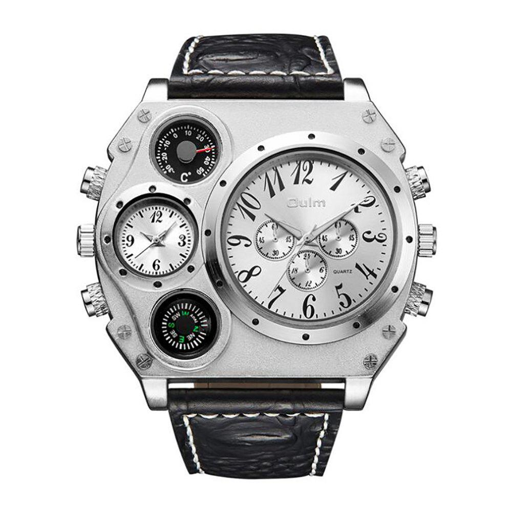 Large Dial Multi Time Man Watch - WHITE