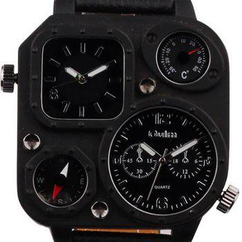 Male Fashion Compass Thermometer in Two Places Quartz Watch -  BLACK