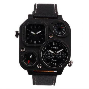 Male Fashion Compass Thermometer in Two Places Quartz Watch - BLACK BLACK