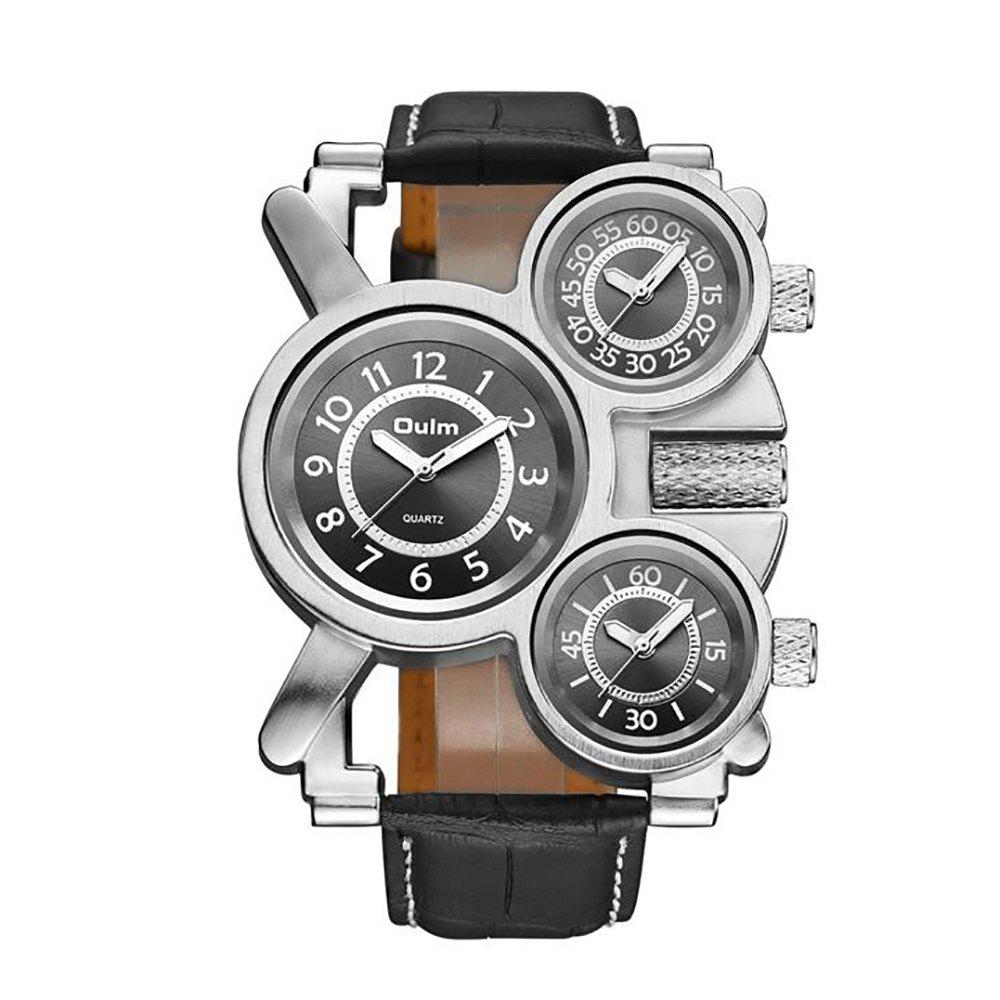 Foreign Hot Cool Watch in Multiple Time Zones - BLACK