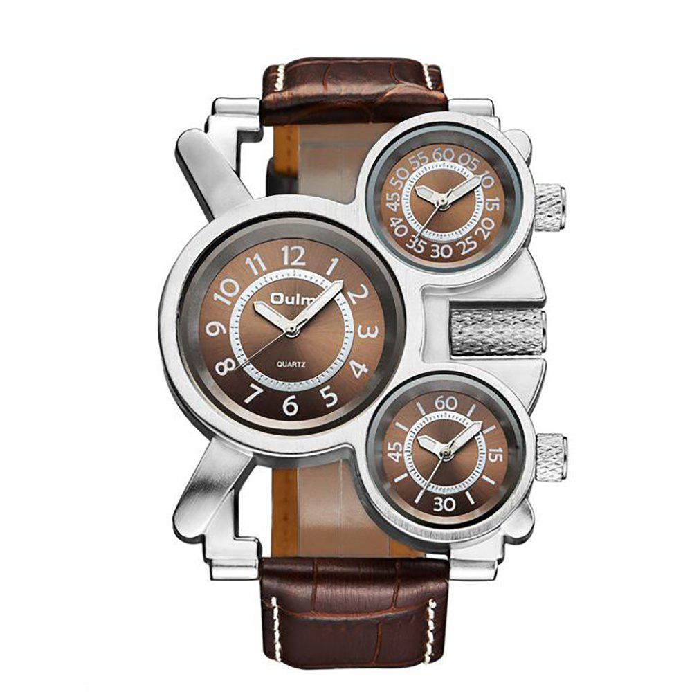 Foreign Hot Cool Watch in Multiple Time Zones - BROWN