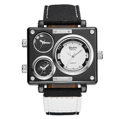 Square Canvas Wrist Watch in Multi Time Foreign Trade Area - WHITE