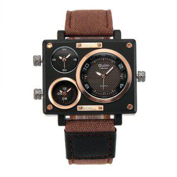 Square Canvas Wrist Watch in Multi Time Foreign Trade Area - BROWN BROWN