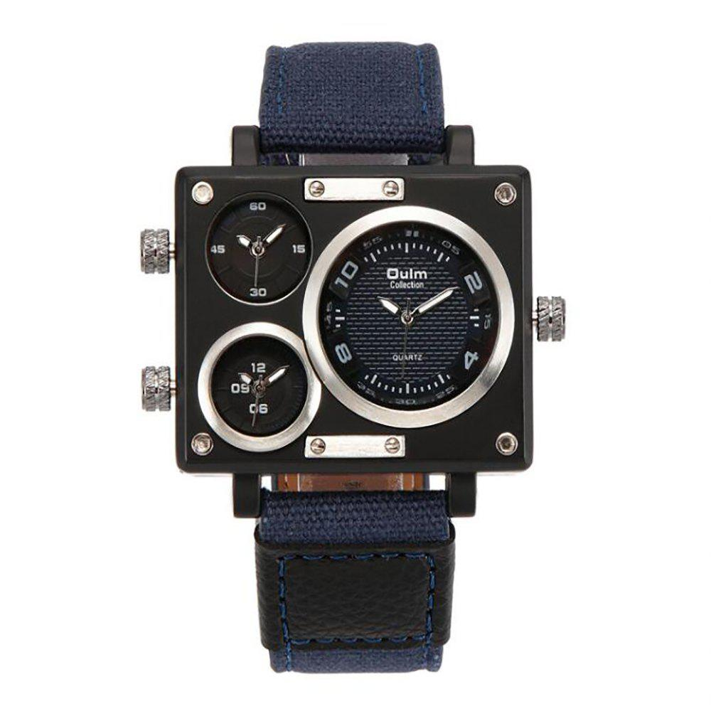 Square Canvas Wrist Watch in Multi Time Foreign Trade Area - BLACK