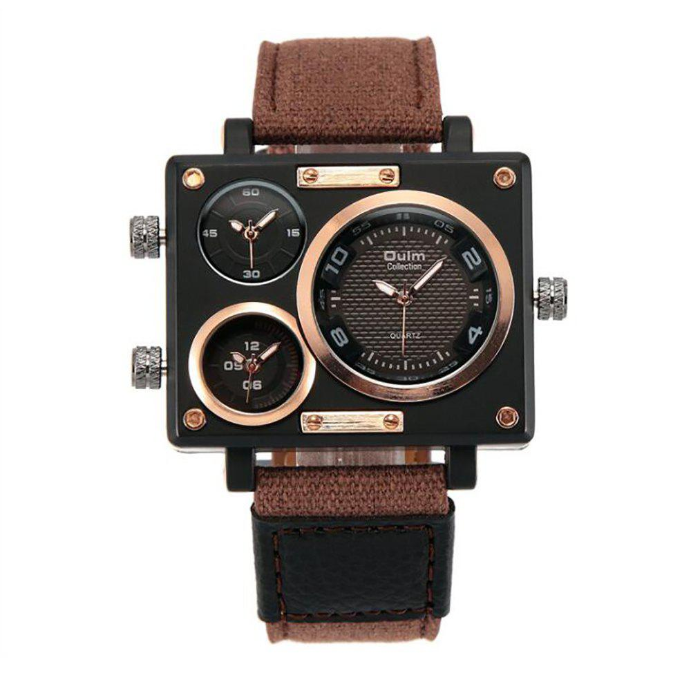 Square Canvas Wrist Watch in Multi Time Foreign Trade Area - BROWN