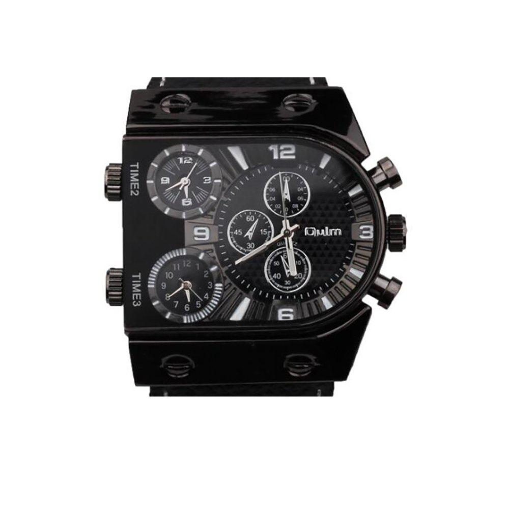 Men's Watch in Multi Time Area of Foreign Trade - BLACK