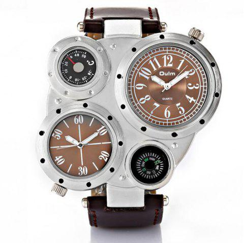 Foreign Trade Double Time Zone Men's Personality Watch - BROWN