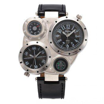 Foreign Trade Double Time Zone Men's Personality Watch - BLACK BLACK