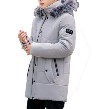 2018 Men's Warm Fashion Long Cotton Coat - GRAY 3XL