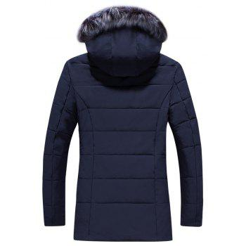 2018 Men's Warm Fashion Long Cotton Coat - DEEP BLUE 2XL