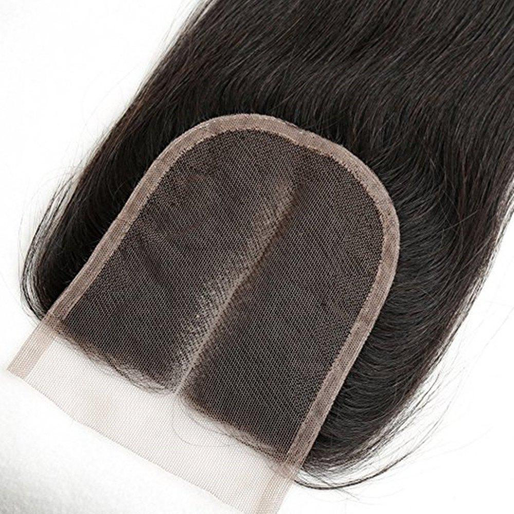 Straight Middle Part Lace Closure Human Hair Unprocessed Virgin Brazilian Full Frontal Natural Black Color - BLACK 10INCH