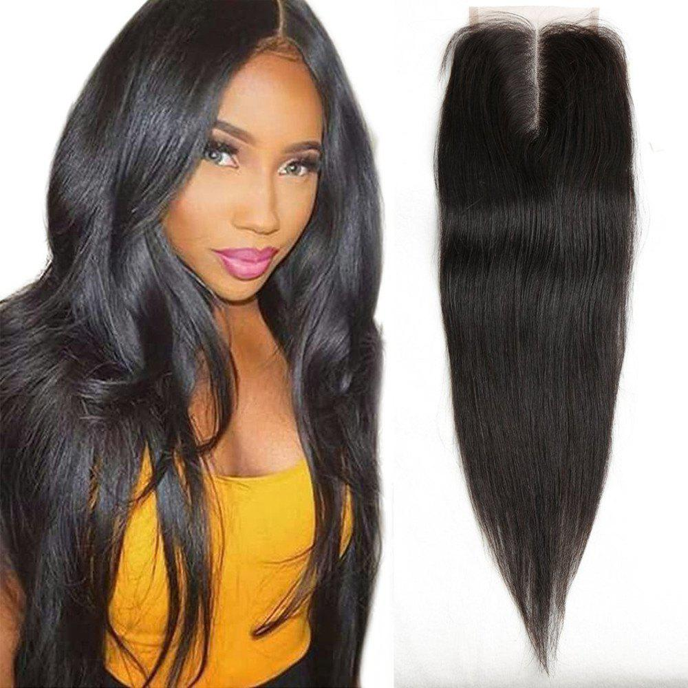 Brazilian Remy Human Hair Silky Straight Middle Part Lace Closure Bleached Knots Swiss Lace 12 inch - BLACK 12INCH