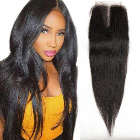 4 x 4 Middle Part Brazilian Straight Top Closure Unprocessed Human Hair Bleached Knots - BLACK 16INCH