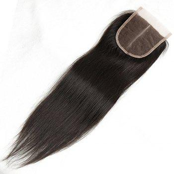 Front Top Invisible Lace Closure Middle Part Brazilian Straight Hair Extension 18 inch - BLACK BLACK