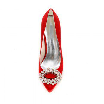 Wedding Shoes with High Heels And Pointy Toes - RED 39