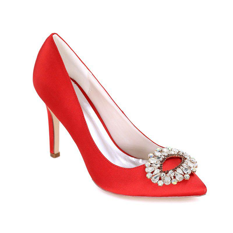 Wedding Shoes with High Heels And Pointy Toes - RED 40