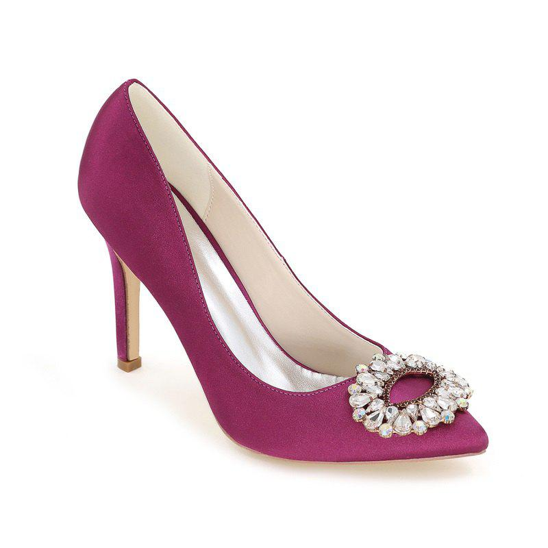 Wedding Shoes with High Heels And Pointy Toes - PURPLE 42