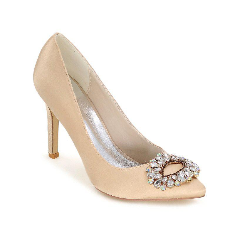 Wedding Shoes with High Heels And Pointy Toes - CHAMPAGNE 39