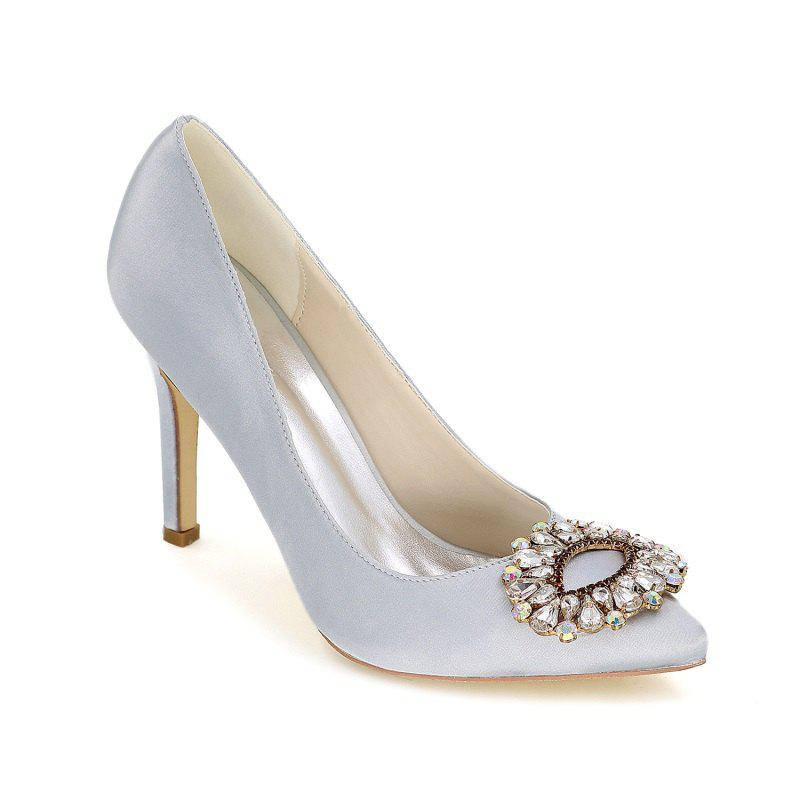 Wedding Shoes with High Heels And Pointy Toes - SILVER 36