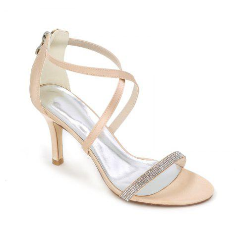 High-Heeled Sandal Wedding Shoes - CHAMPAGNE 41