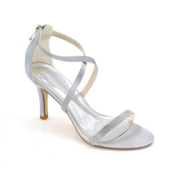 High-Heeled Sandal Wedding Shoes - SILVER SILVER