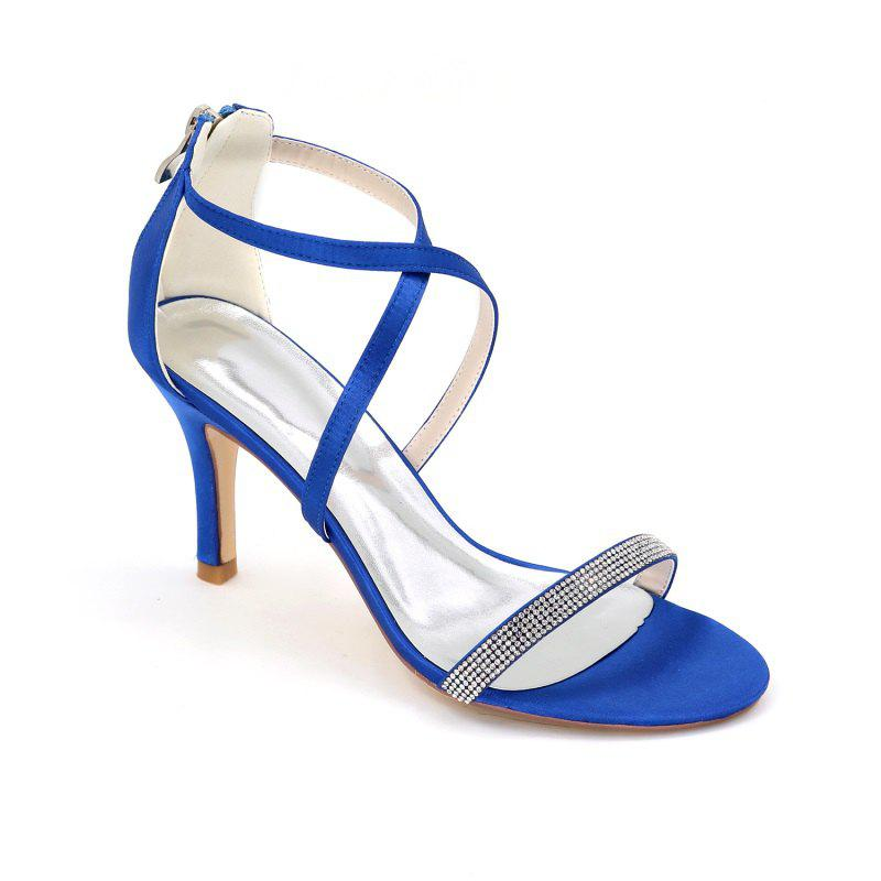 High-Heeled Sandal Wedding Shoes - BLUE 42