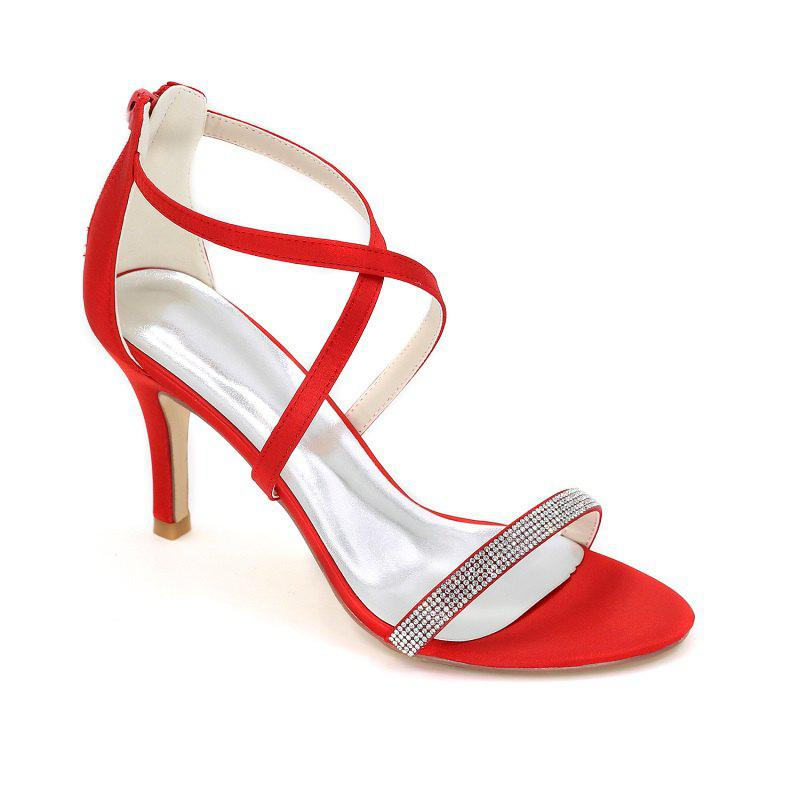 High-Heeled Sandal Wedding Shoes - RED 35