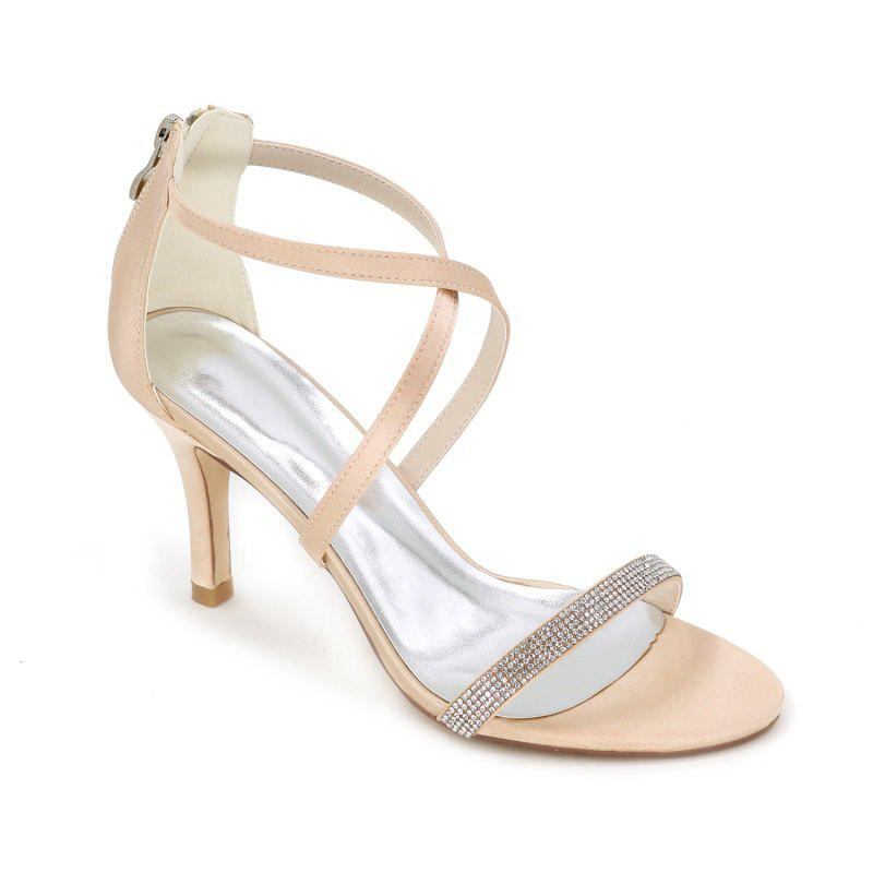High-Heeled Sandal Wedding Shoes - CHAMPAGNE 40