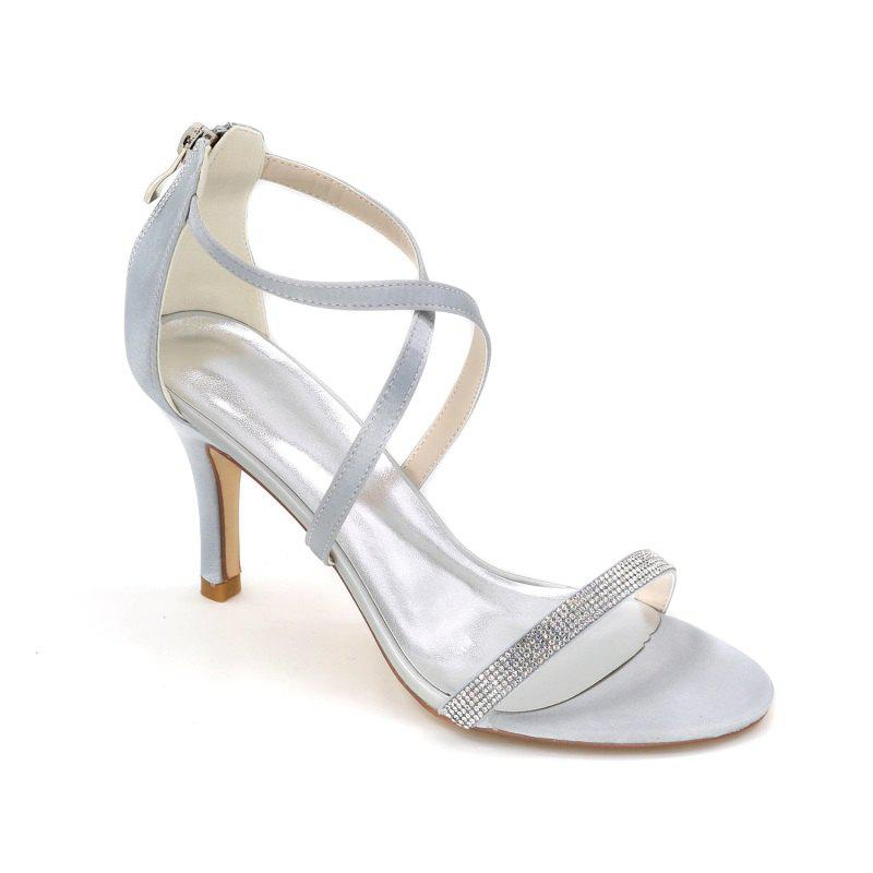 High-Heeled Sandal Wedding Shoes - SILVER 39