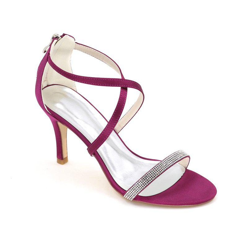 High-Heeled Sandal Wedding Shoes - PURPLE 37