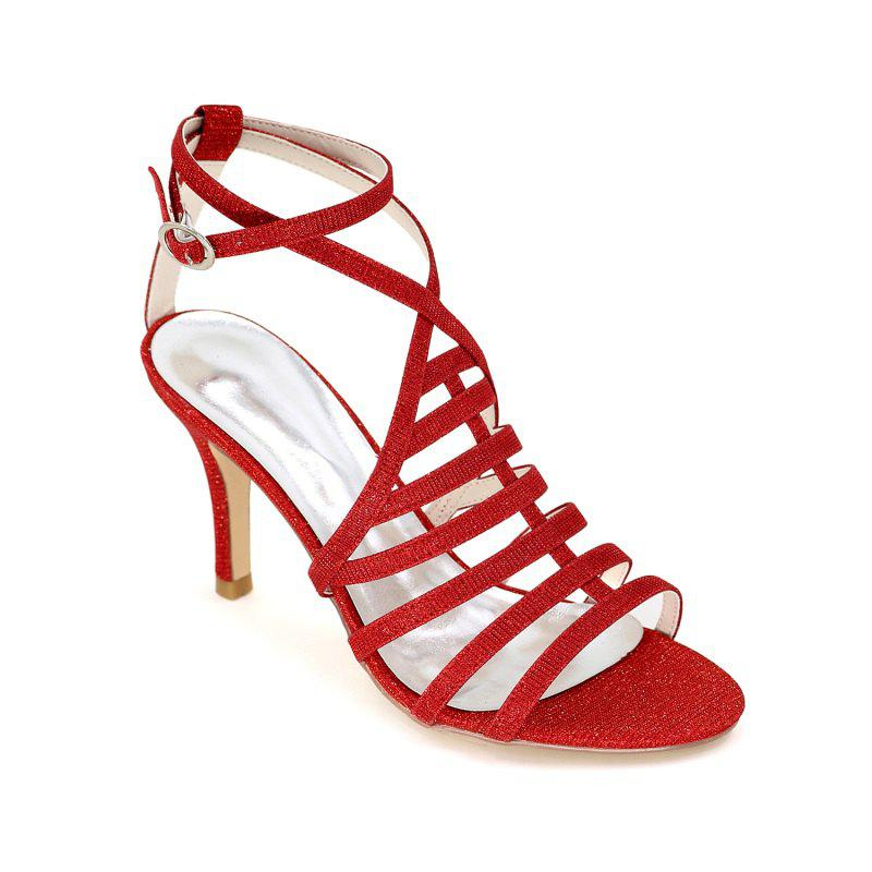 Ladies High Heel Roman Sandals - RED 35
